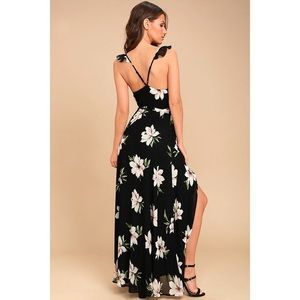 ALL MINE BLACK FLORAL PRINT HIGH-LOW WRAP DRESS